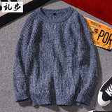Winter original Japanese sweater men's winter solid color round neck pullover sweater men's casual Korean version of the bottoming shirt tide