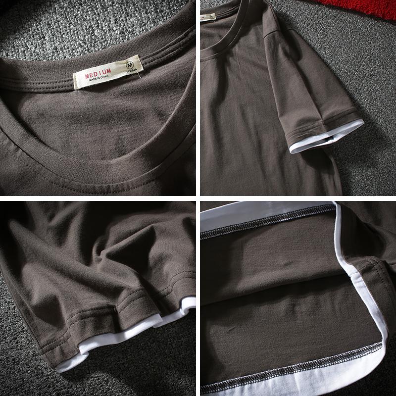 乱步潮男装宽松短袖T恤男士日系圆领纯棉体恤情侣假两件半袖上衣