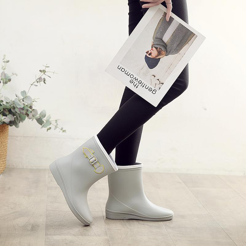 雨牧轻便雨鞋女中筒韩国可爱成人雨靴水靴套鞋防水胶鞋防滑水鞋