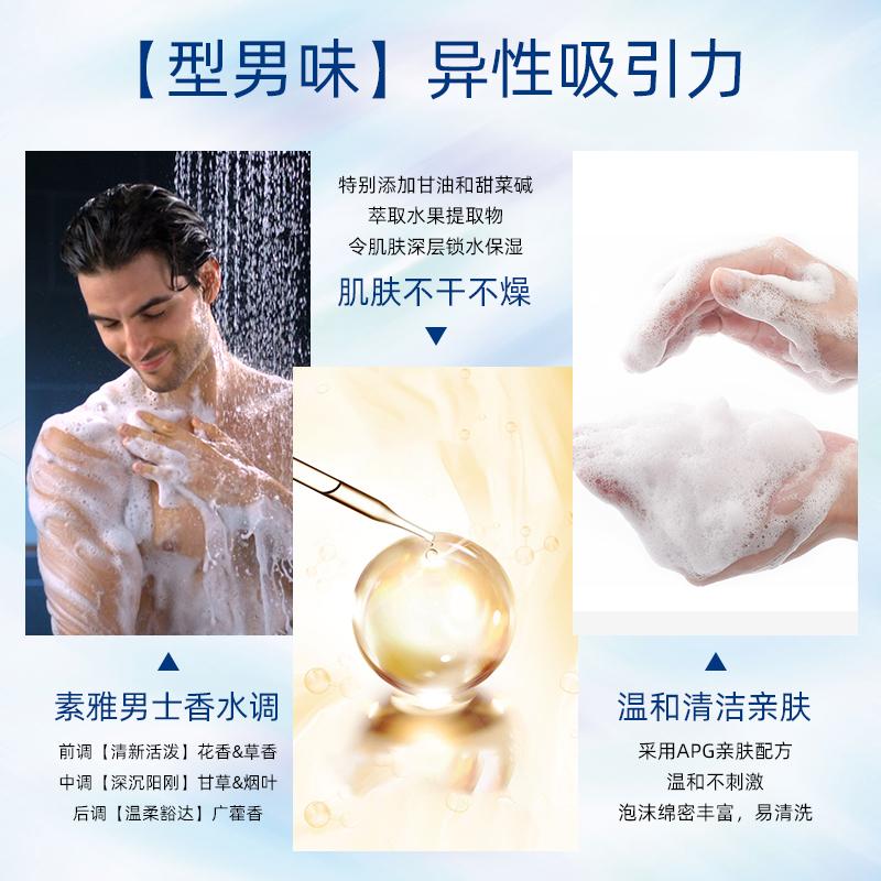 罗曼诺经典香氛滋润清爽控油男士洗发水沐浴露持久留香洗护家庭装