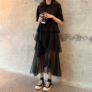 很仙的法国小众连衣裙维多利亚复古裙山本风法式超仙网纱裙打底裙