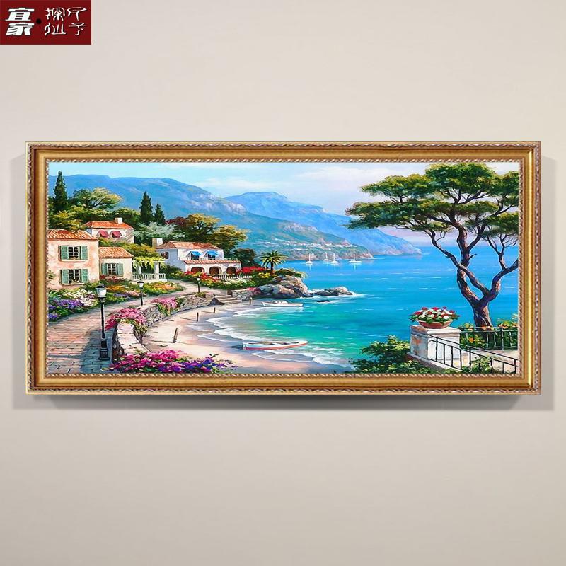大芬村純手繪油畫掛畫客廳沙發背景墻裝飾畫地中海風景壁畫成品畫