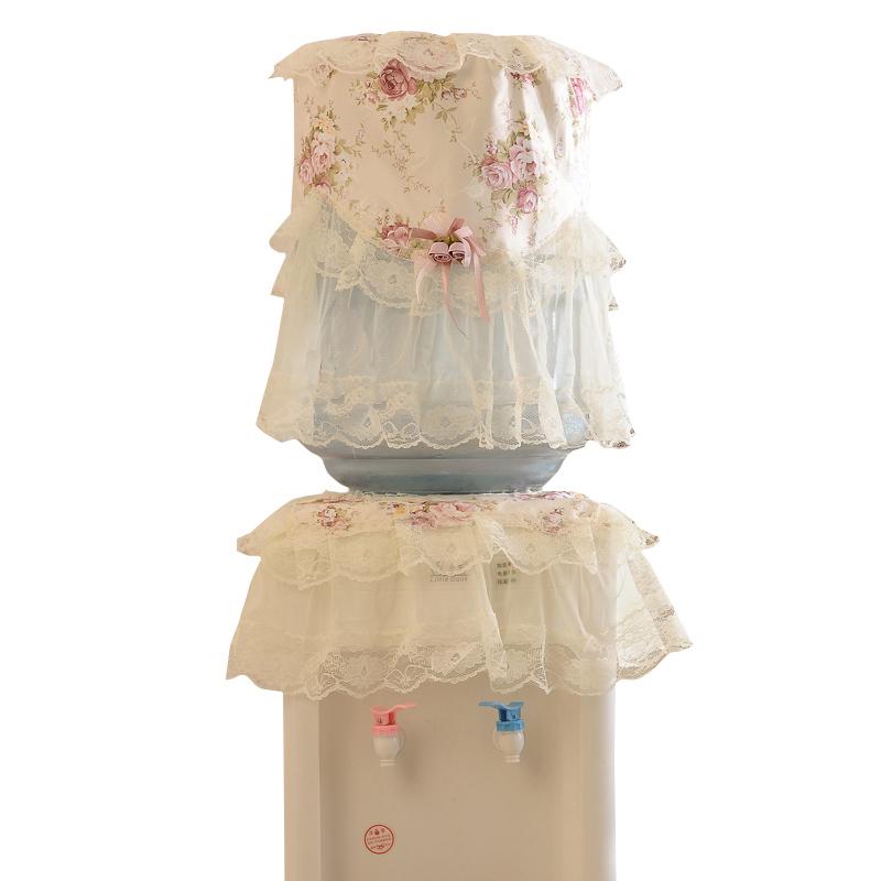 云蔻 田园蕾丝饮水机罩防尘罩布艺立式饮水机罩子水桶罩两件套