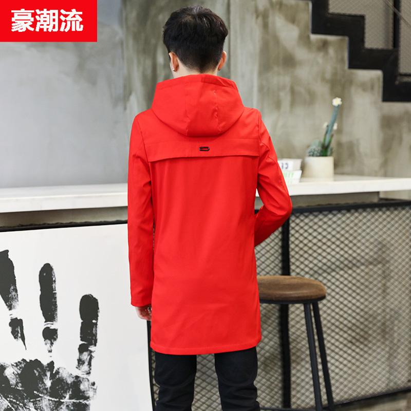 中长款风衣红色外套上衣个姓加绒加厚男士高中学生潮外衣秋冬夹克