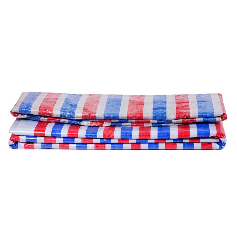 全新料聚乙烯加厚彩条布 防雨篷布 防水布 三色红白蓝塑料防晒布