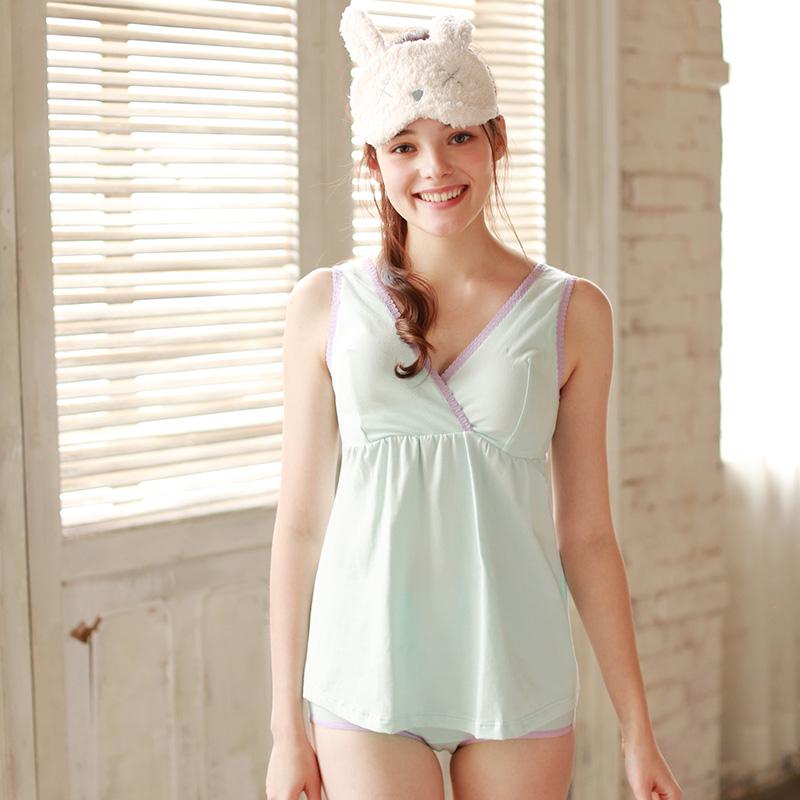 梦蜜哺乳衣夏装薄款产后哺乳背心喂奶衣月子服辣妈无袖棉哺乳上衣