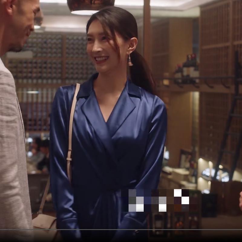三十而已江疏影王曼妮同款衣服女2020夏季缎面连衣裙藏蓝色礼服裙