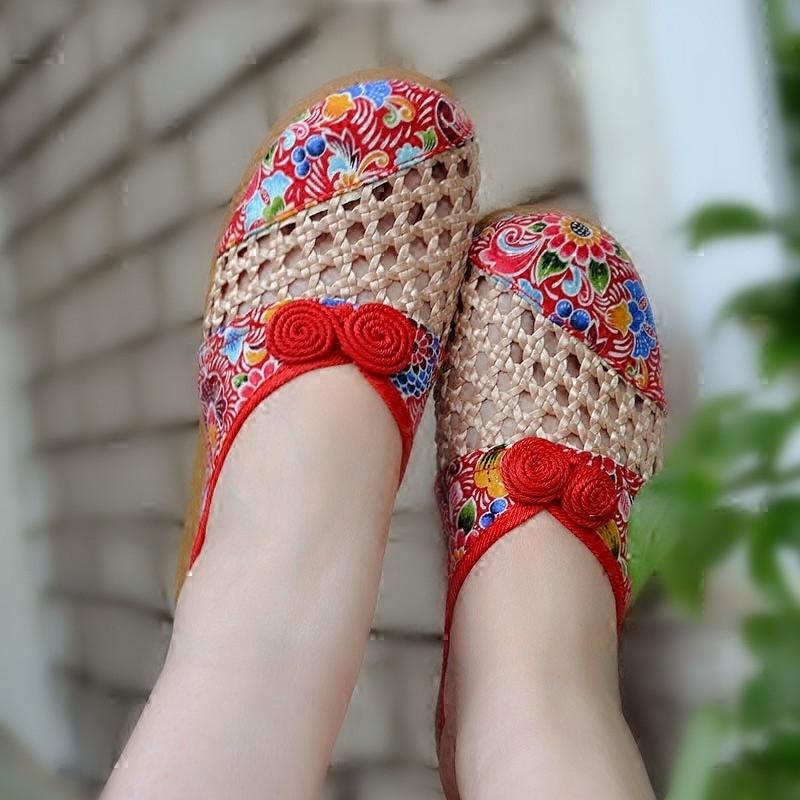 老北京布鞋女涼鞋拖舒適平底鏤空印花室內外透氣亞麻民族繡花鞋夏
