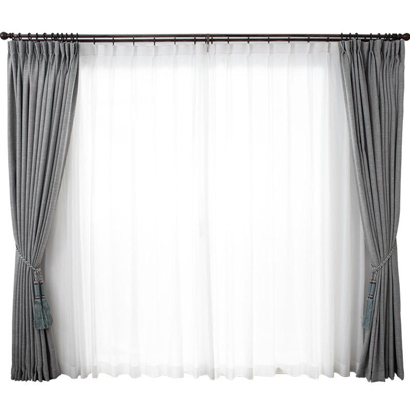 窗帘北欧简约遮光窗帘全遮光卧室棉麻纯色环保客厅窗帘安装窗纱is