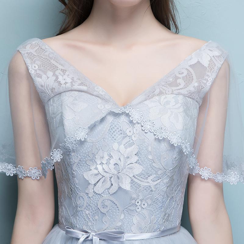 伴娘服短款2019新款韩版灰色伴娘礼服女学生姐妹团小礼服裙显瘦夏