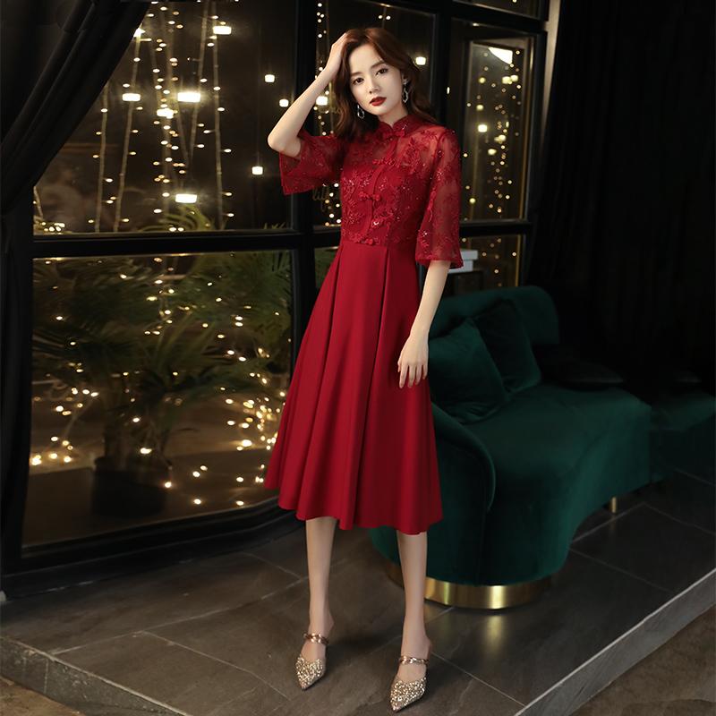 新娘敬酒服旗袍2021新款夏季红色回门服平时可穿结婚订婚礼服裙女