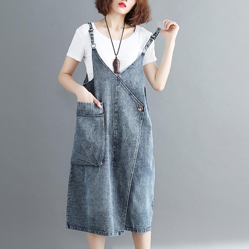 200斤胖mm夏装中长款牛仔背带裙加肥大码女装宽松显瘦吊带连衣裙