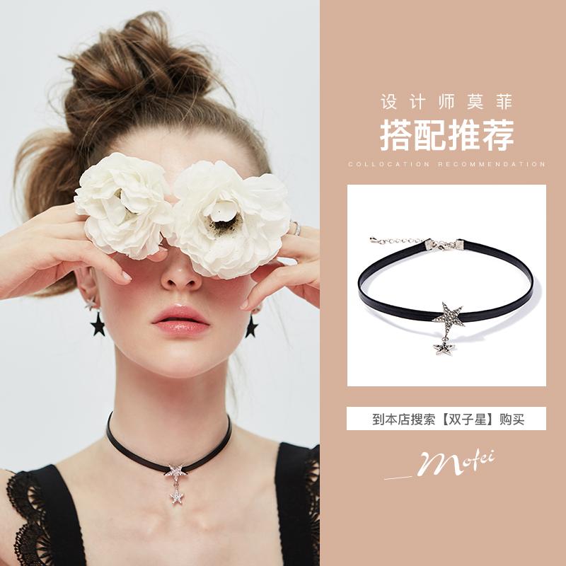 黑白星 五角星耳环女气质韩国百搭耳钉2018新款圆脸适合的耳坠潮