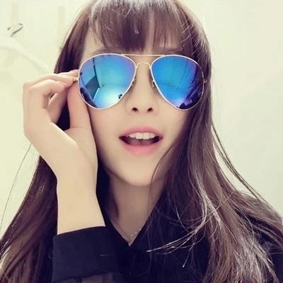 2019炫彩膜反光情侣眼睛圆男女太阳镜潮眼镜大框墨镜沙滩夏蛤蟆镜