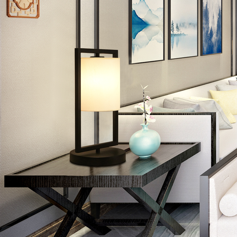 新中式客厅台灯卧室床头灯简约创意书房酒店大堂会所仿古房间台灯