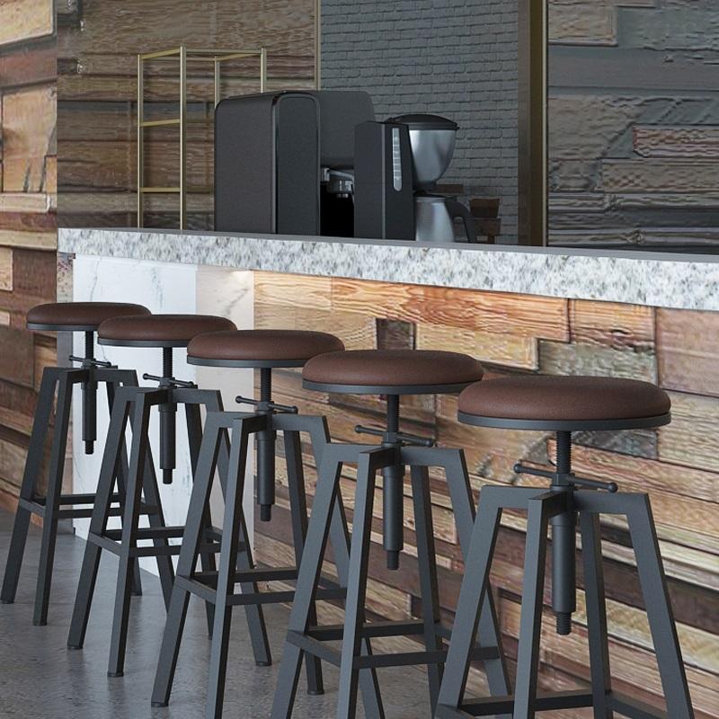 赤腾LOFT简约酒吧凳铁艺高脚凳实木吧台凳子圆形旋转升降现代吧椅