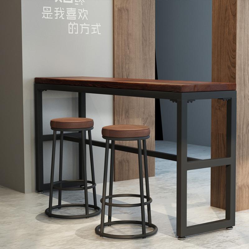铁艺实木吧台椅简约吧凳高脚凳美式复古酒吧椅高吧椅吧台凳前台椅