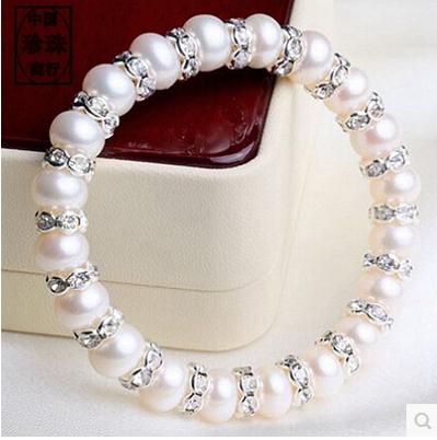 女弹力线穿 珍珠相间水钻配套 8mm 天然珍珠手链 和幸福牵手