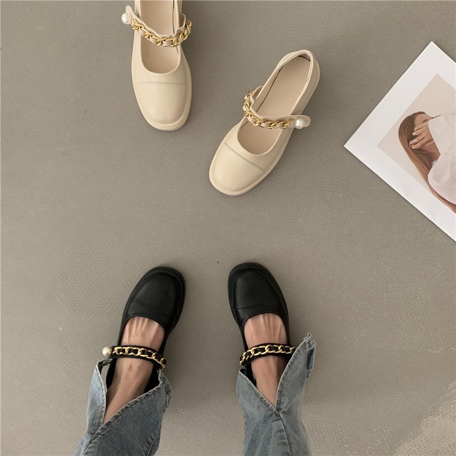 年春夏新款玛丽珍鞋外穿女鞋 2021 法式厚底英伦风皮鞋小众单鞋