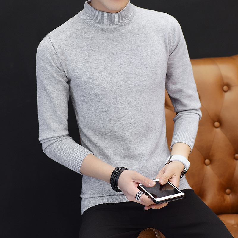 冬季加绒加厚男士中领毛衣韩版白色半高领修身打底针织衫薄款毛衫主图