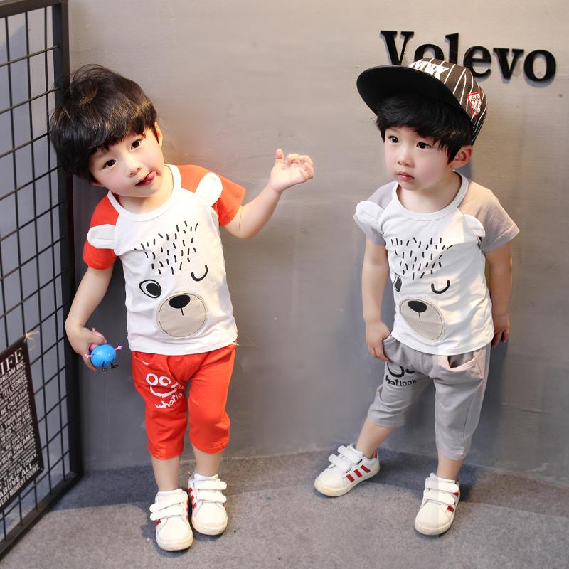 男童装2019新款夏季套装12-3-4岁男女宝宝运动套装夏装全棉两件套