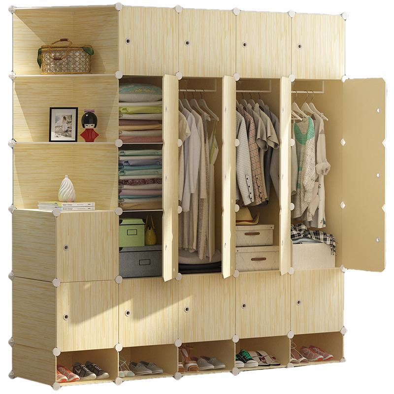 衣柜简易塑料布衣橱出租房单卧室布艺挂仿实木组装经济型收纳柜子