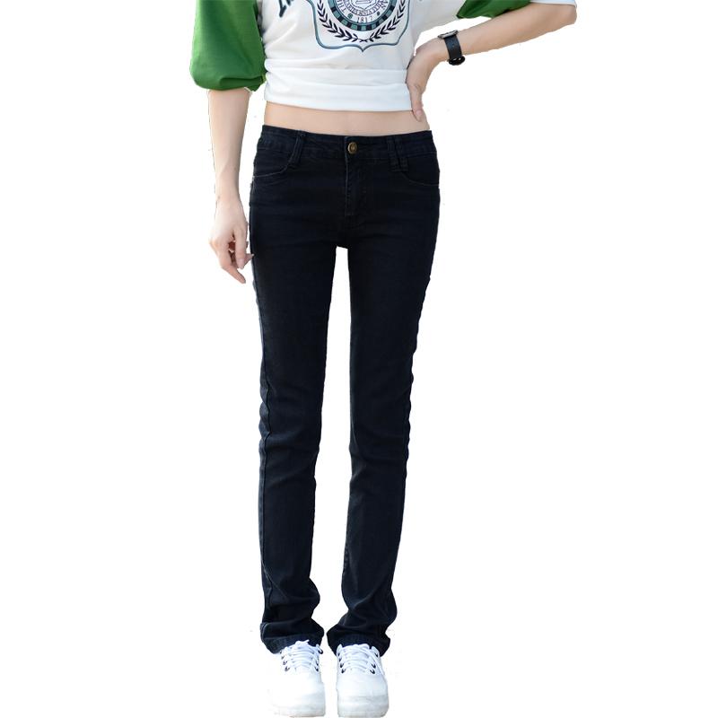 2019春装女直筒牛仔裤女大码韩版显瘦黑色女长裤大码牛仔宽松