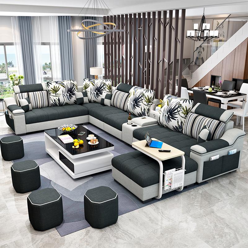 型科技布沙发组合套装