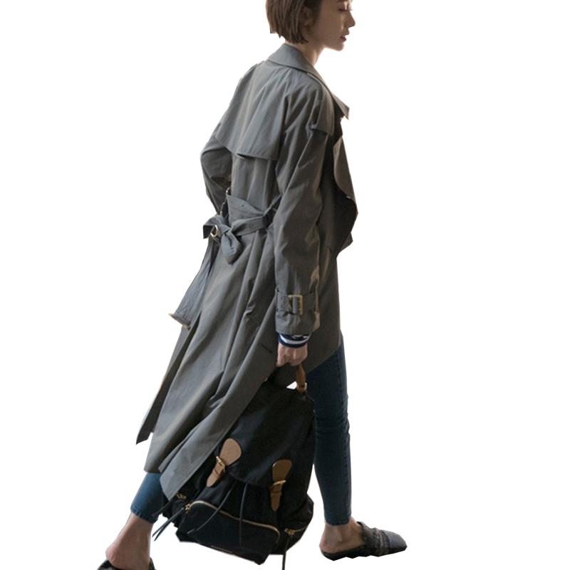 GEFUNOON春秋新款韩版女士风衣时尚高个子长款双排扣宽松气质外套