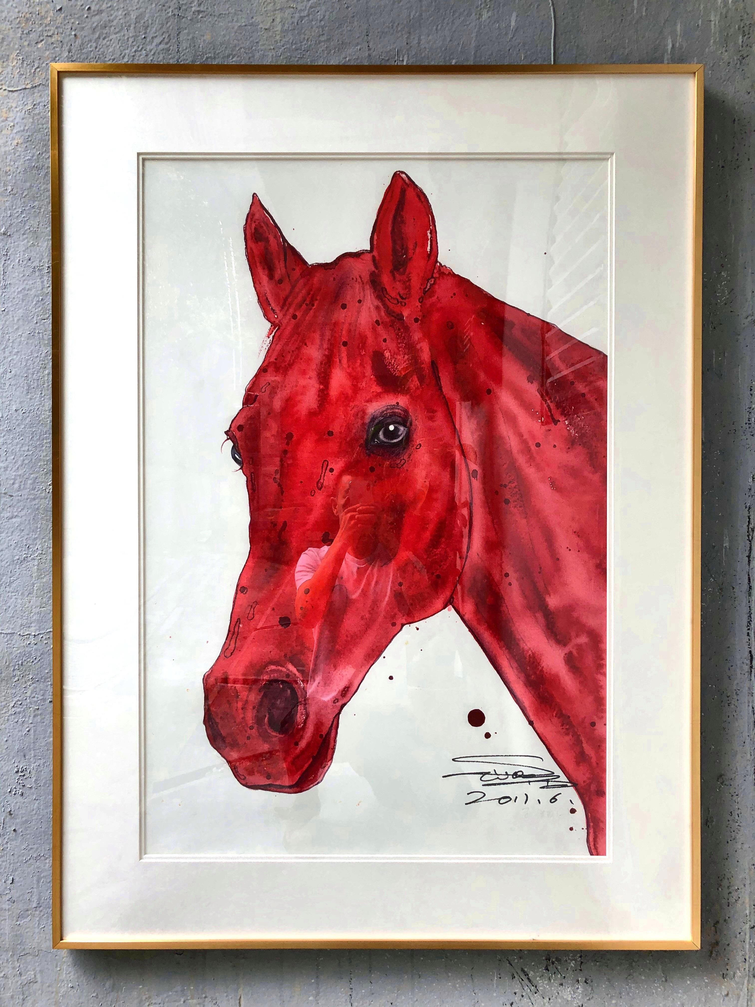 原创限量版高精度孙继成水彩艺术版画《红马》装饰作品