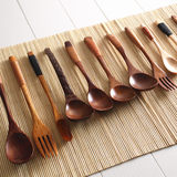 Solid wood spoon wooden spoon tableware spoon fork spoon long spoon wooden spoon spoon a small Japanese-style wood home wooden spoon