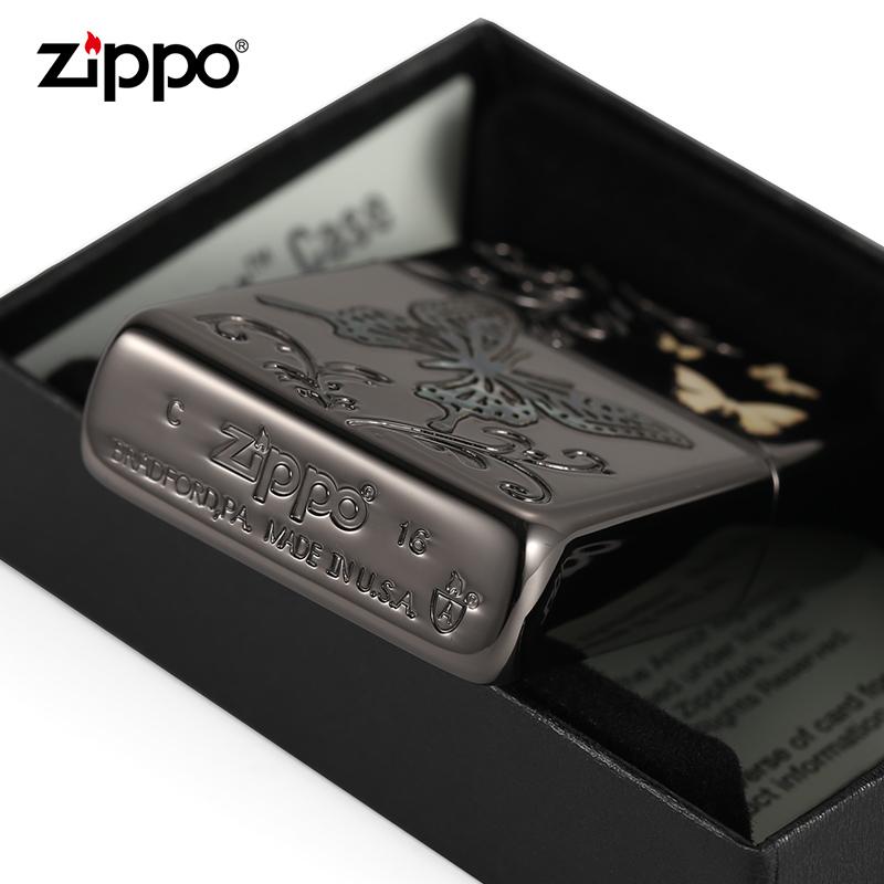 原装正品zippo正版打火机 蝴蝶雕刻 彩壳镶嵌 防风煤油打火机