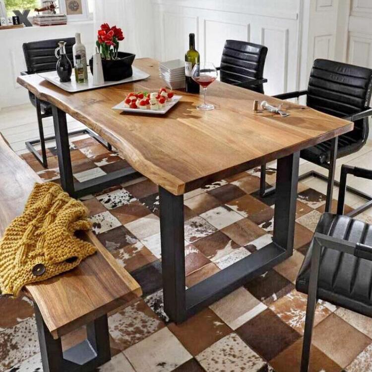 北歐餐桌咖啡廳桌子簡約實木傢俱辦公桌復古鐵藝餐桌書桌會議桌