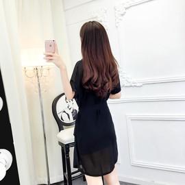 套装女时尚两件套2019新学院风韩版简约吊带+衬衣领雪纺连衣裙 夏