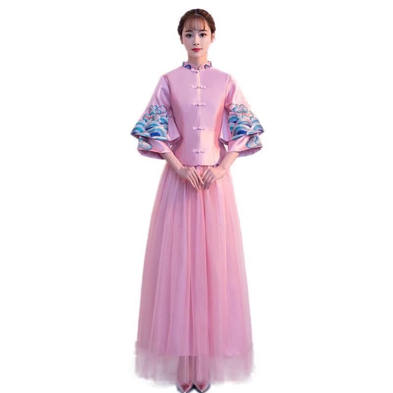 中式伴娘服长款2019秋冬新款复古立领红灰粉色闺蜜姐妹团长裙显瘦