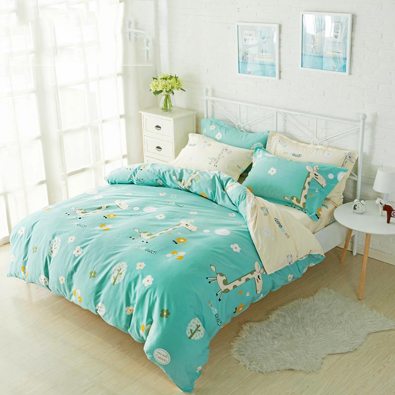 皓润琪床品四件套纯棉印花条纹格子素色单人双人学生儿童床单被套