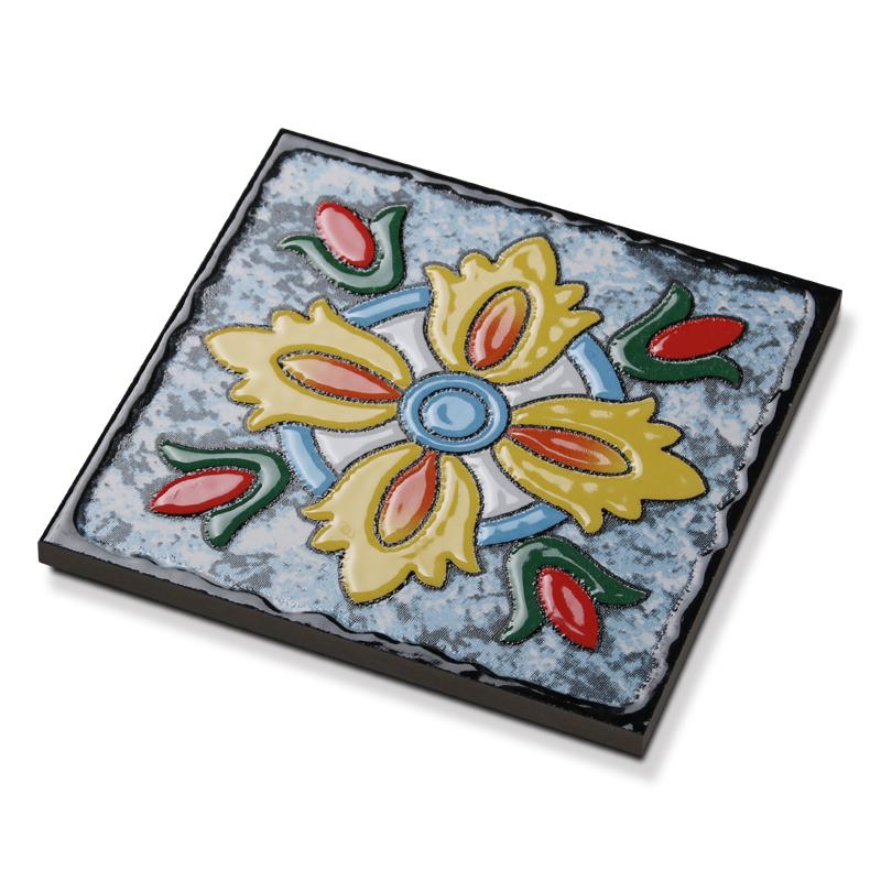 地中海背景墙花片瓷砖150楼梯混拼转角欧美式花彩色凹凸小花砖300