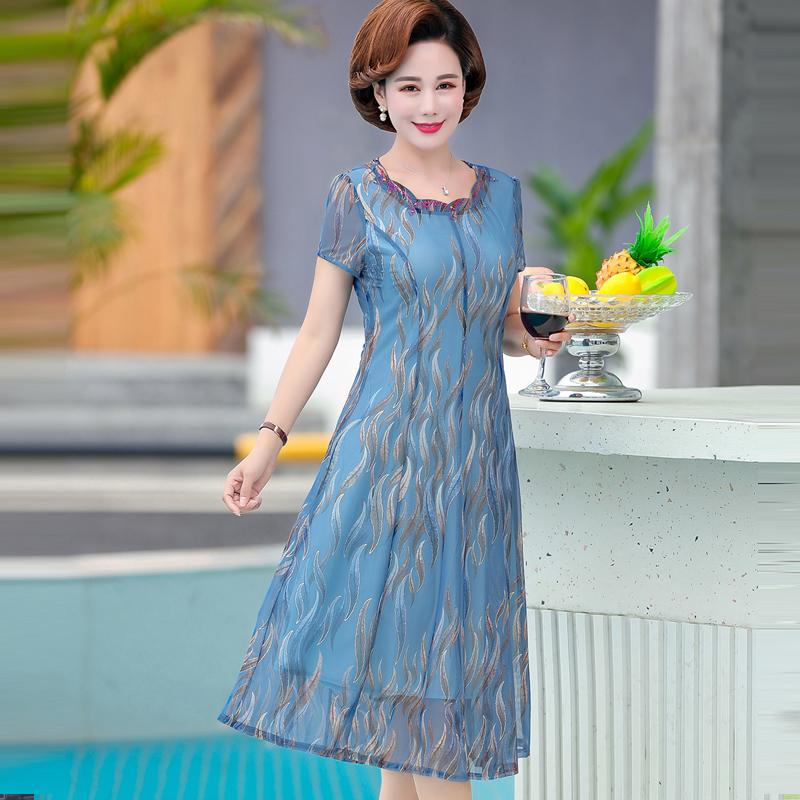 妈妈装夏装连衣裙中老年女装短袖阔太太洋气高贵中年裙子 新款  2019