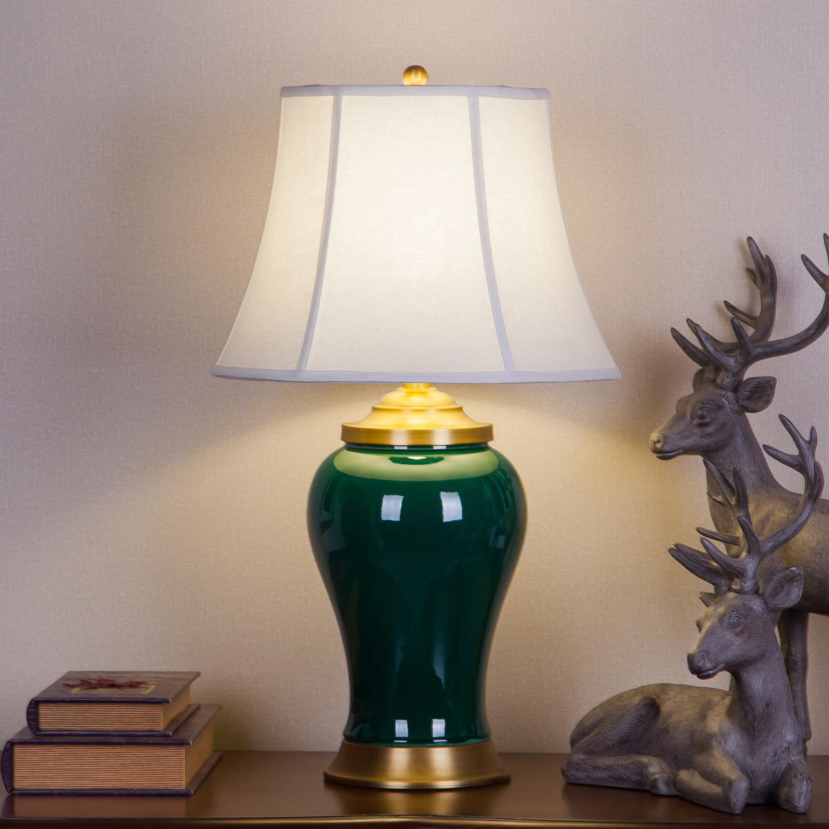 新品美式全铜陶瓷台灯客厅卧室书房中式欧式高档装饰婚庆新房 HH