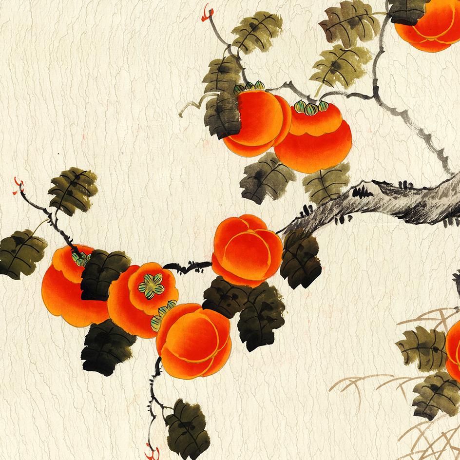 事事如意 柿子 玄關風水橫幅 畫心辦公客廳裝飾 畫芯高清宣紙微噴