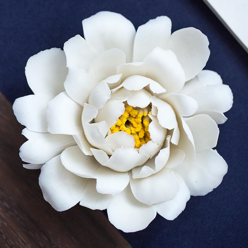 中式茶宠精品手工瓷花陶艺摆件 创意茶装饰配件牡丹花茶道零配件