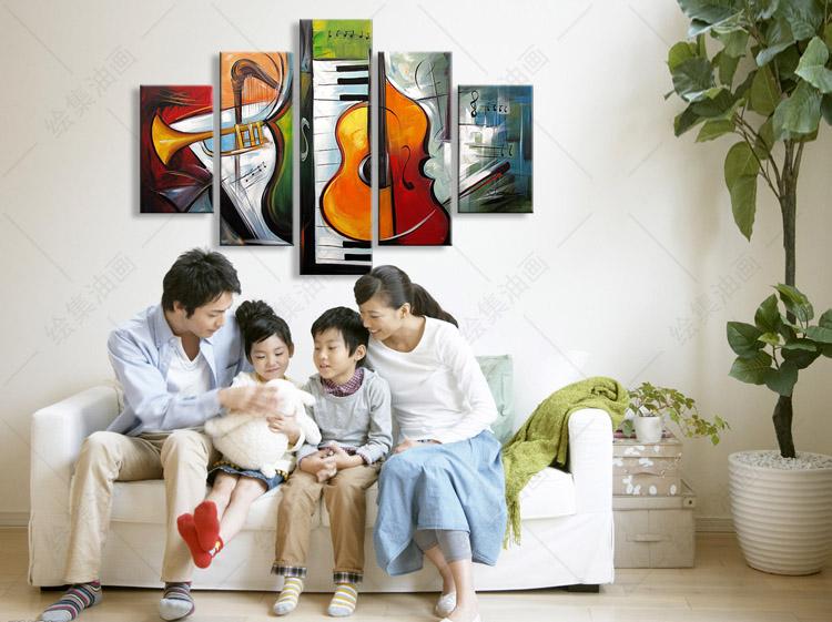 現代手繪裝飾畫油畫客廳臥室音樂教室餐廳五拼抽象樂器掛畫無框畫