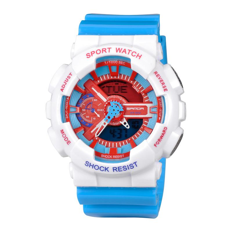 韩版潮男女学生运动夜光防水电子表潮流大表盘时尚多功能红色手表