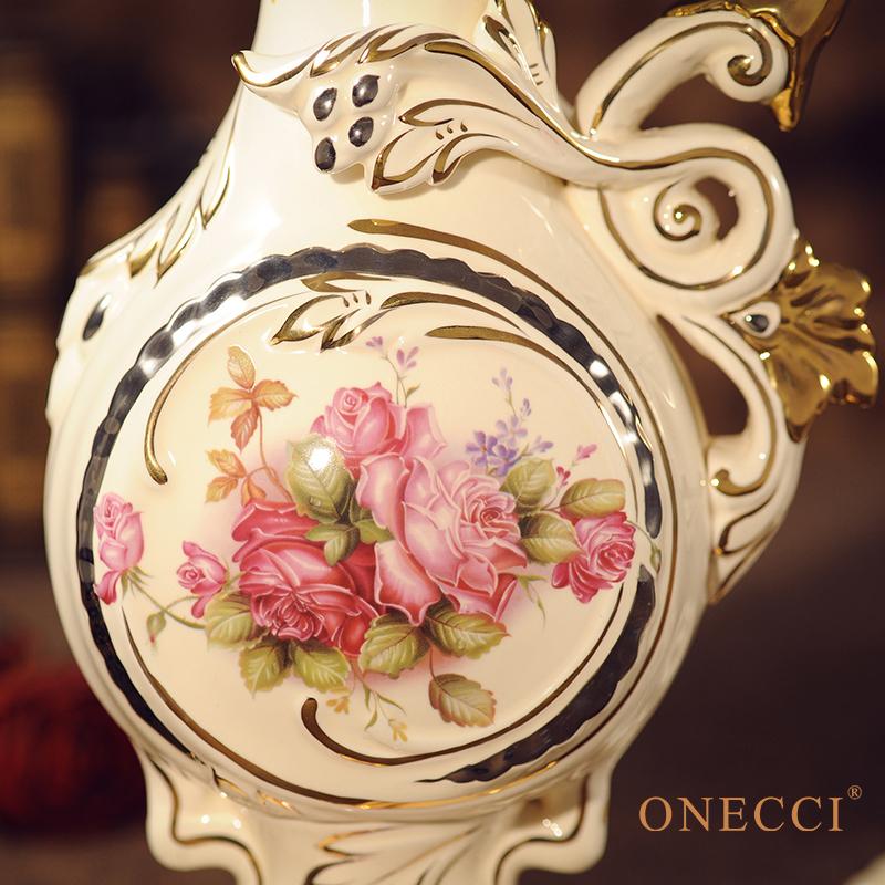 乔迁结婚礼物礼品包邮 欧式陶瓷花瓶客厅花插时尚创意摆件装饰品