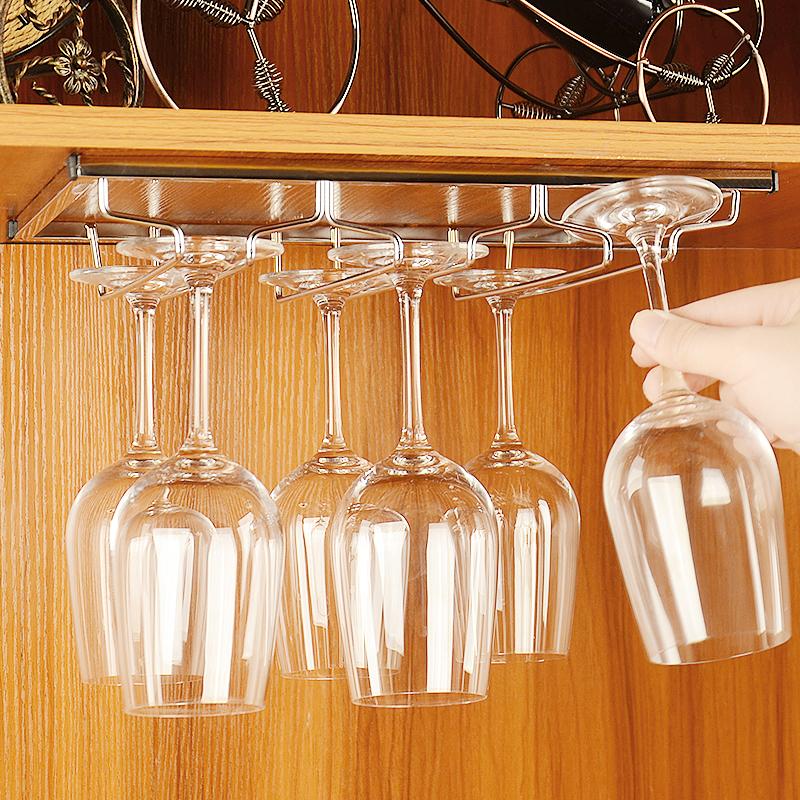 不锈钢红酒杯架 欧式倒挂高脚杯架 家用悬挂葡萄酒杯架酒柜红酒架