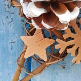 圣诞节装饰品花环五角星diy装饰家居套餐圣诞挂件藤圈花圈门挂铃