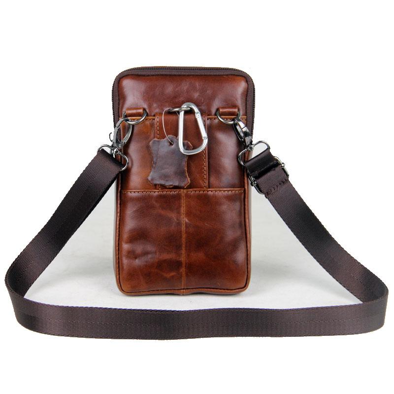 7寸手机包男多功能真皮斜挎小包潮夏季休闲男士手机包穿皮带腰包