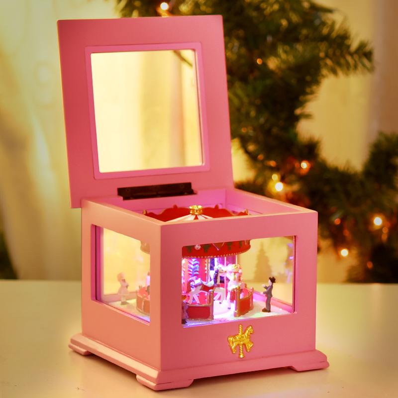 木质旋转木马音乐盒八音盒创意生日礼物女生送女朋友女孩天空之城