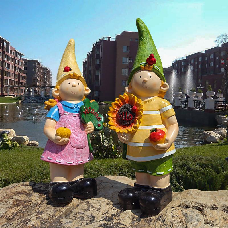庭院景觀花園落地擺件 樹脂模擬卡通小孩雕塑擺設工藝品人物裝飾