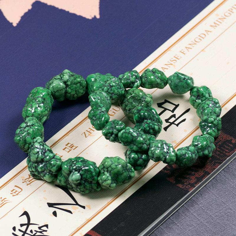 纯原矿天然绿松石原石手串手链项链108颗小米珠吊坠散珠配饰男女